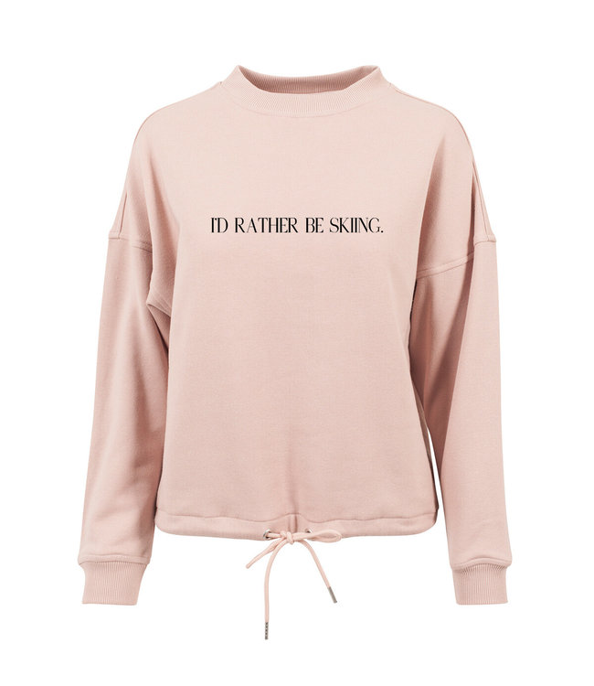 Pink ''I'd Rather Be Skiing'' Crewneck