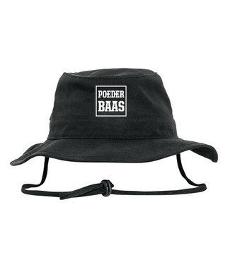 Bucket hat met wit Poederbaas logo - zwart