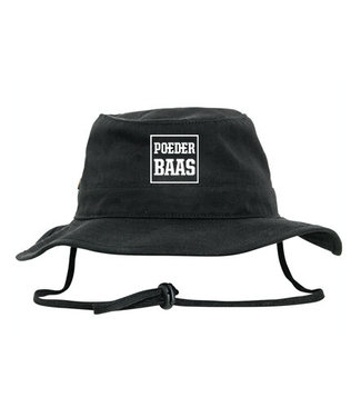 Bucket hat with white Poederbaas logo - black