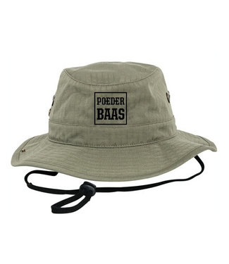 Green bucket hat with black Poederbaas logo