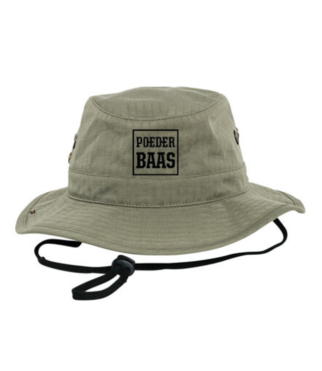 Groene bucket hat met zwart Poederbaas logo