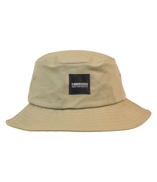 Bucket hat with woven Poederbaas logo - beige