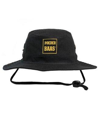 Bucket hat with ocher yellow Poederbaas logo - black