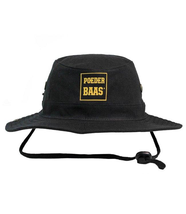 Bucket hat met okergeel Poederbaas logo - zwart