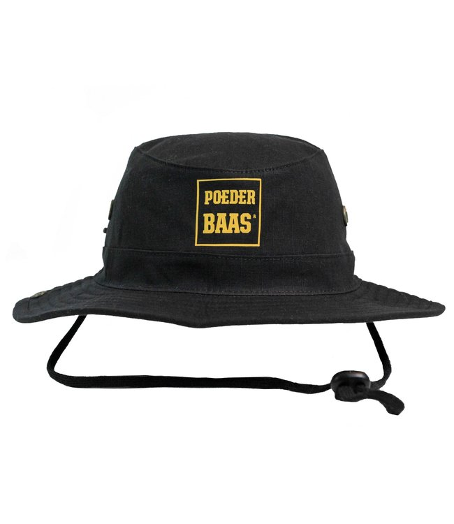 Bucket hat with ocher yellow Poederbaas logo - black