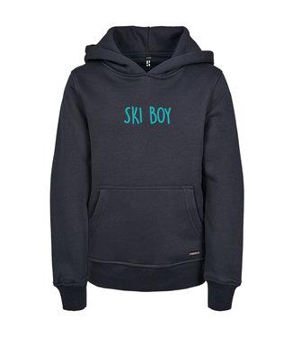 Blauwe Ski Boy hoodie voor kids van Poederbaas