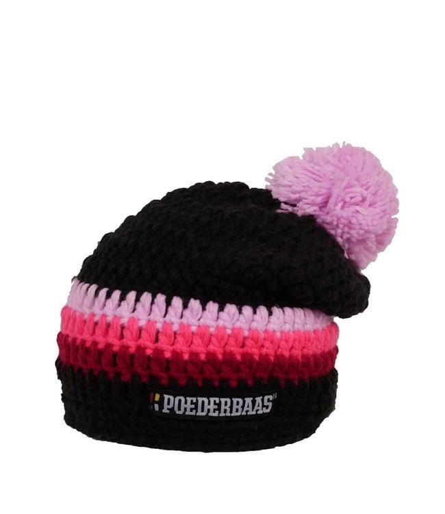 Lange gekleurde muts - roze/zwart/bordeauxrood