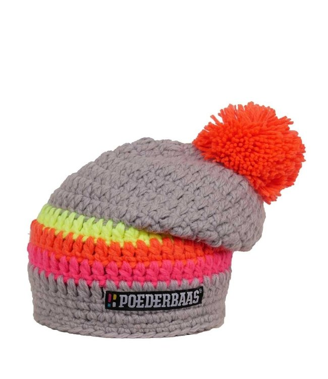 Long colored hat - Gray / pink / yellow / orange