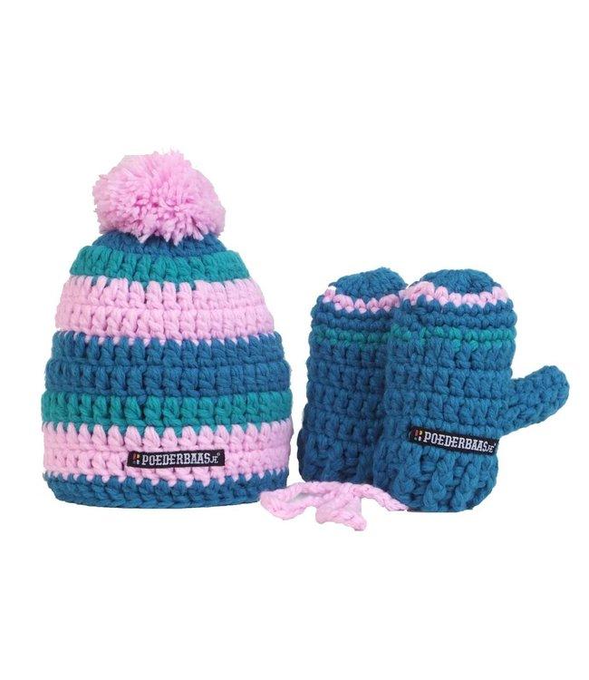 Niedliche bunte Babymütze mit Handschuhen - blau / rosa