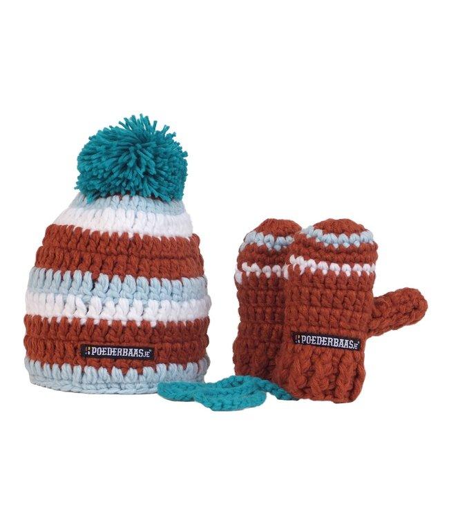 Bunte Babymütze mit Fäustlingen gehäkelt - braun / blau / weiß