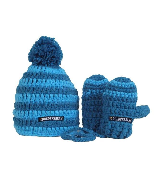 Bunte Babymütze mit Handschuhen - blau