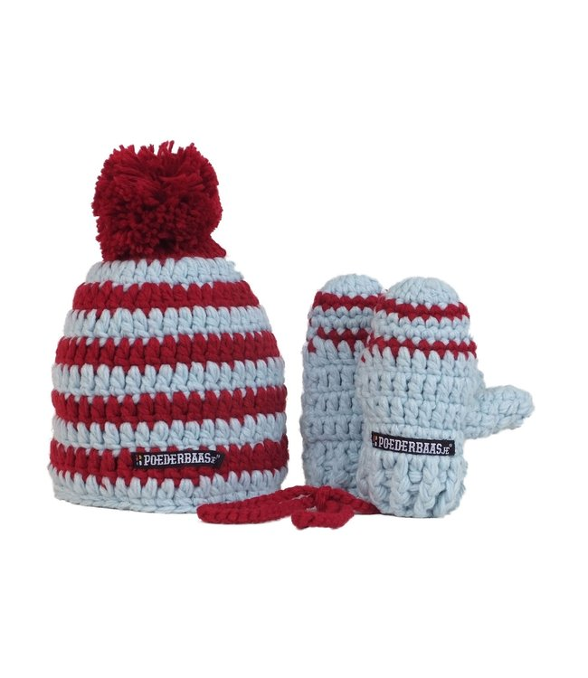 Colorful baby hat with mittens - red / white / blue