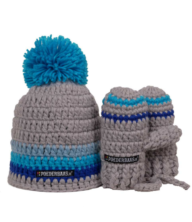 Blue baby hat with gloves - blue / gray