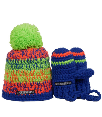 Kleurrijke babymuts met handschoentjes - limegroen/oranje/blauw