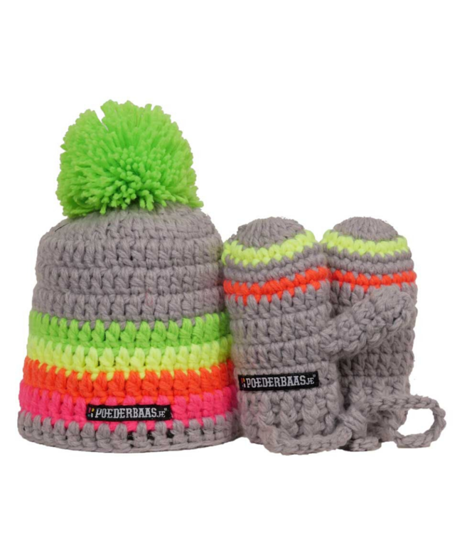 Colorful baby hat with gloves - gray / green / yellow / pink