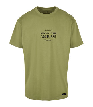 Riding with Amigo's T-shirt Green - Light Green of Poederbaas