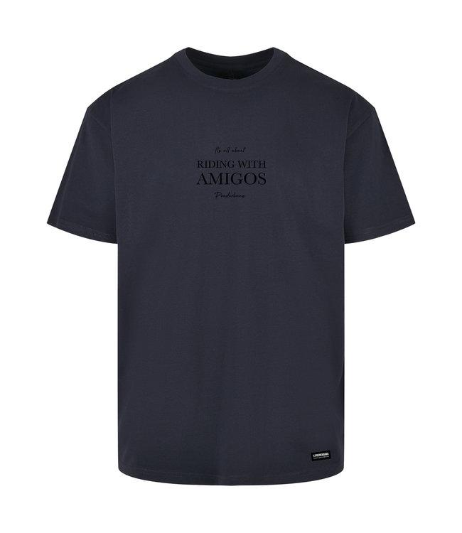 Riding with Amigo's T-shirt Navy van Poederbaas
