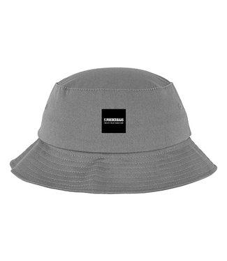 Bucket Hat met Poederbaas label - Grijs