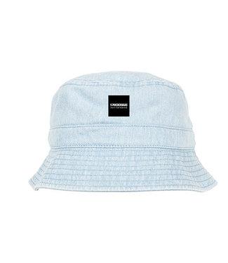 Bucket Hat met Poederbaas label - Light Blauw