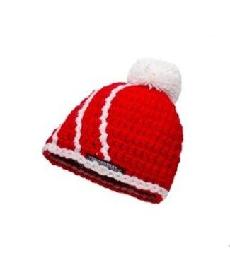 Babymütze - rot mit weißer Kugel