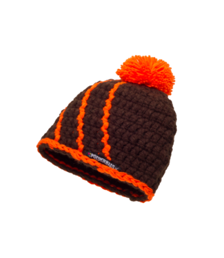 Baby hat with fleece - brown / orange