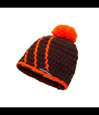Babymütze mit Fleece - braun / orange