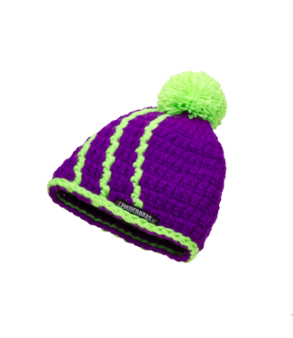 baby hat with pompom - purple with green