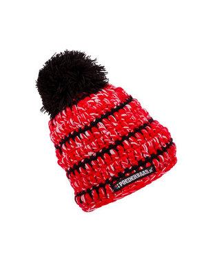 Babymuts gehaakt - zwart/rood/wit