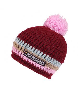 Gestreifter Hut - pink / beige / blau