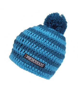 Striped blue winter hat