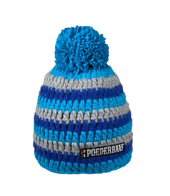 Kurzer Hut mit Pompon - grau / blau