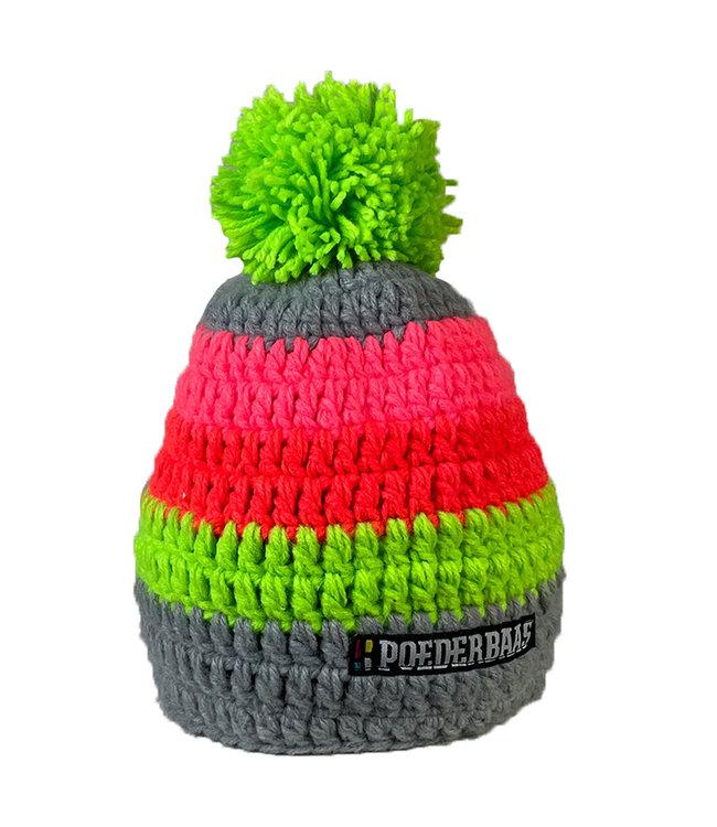 Kleurrijke gehaakte muts - grijs/groen/roze/oranje