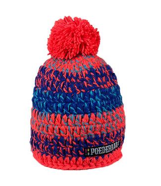 Kurzer Hut mit Pompon - orange / blau