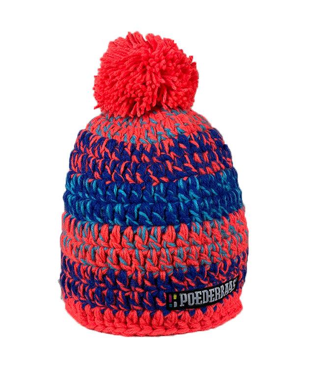 Short hat with pompom - orange / blue