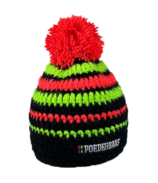 Short hat with pompom - black / green / orange