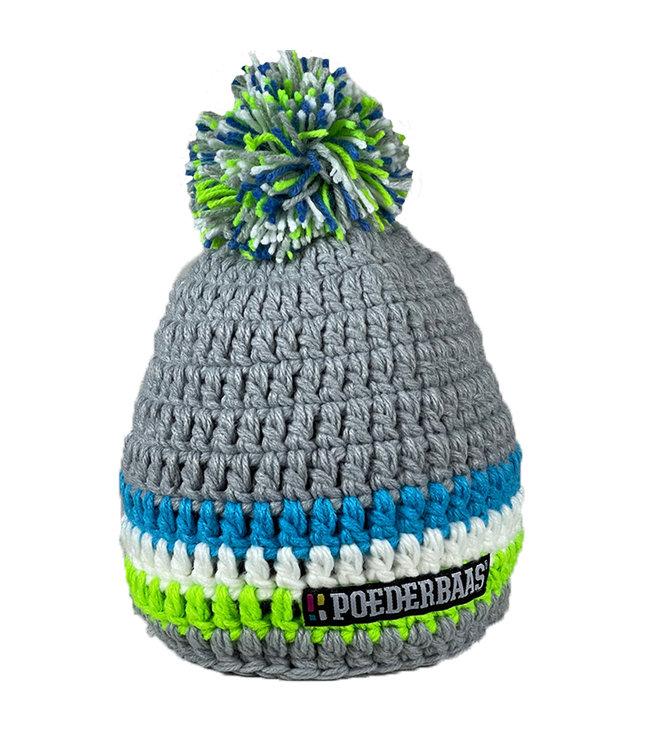 Grijs gehaakte muts - groen/blauw/wit