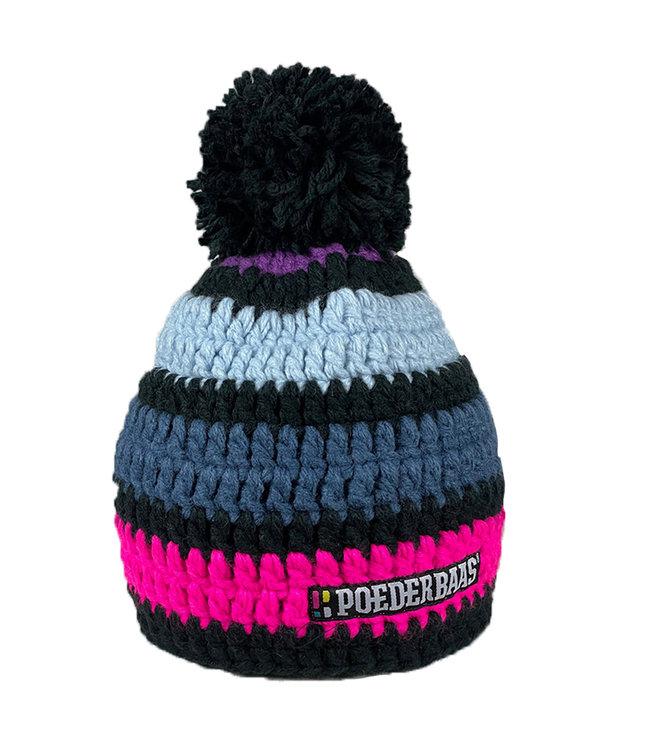 Dunkle Häkelmütze - grau / lila / pink / schwarz