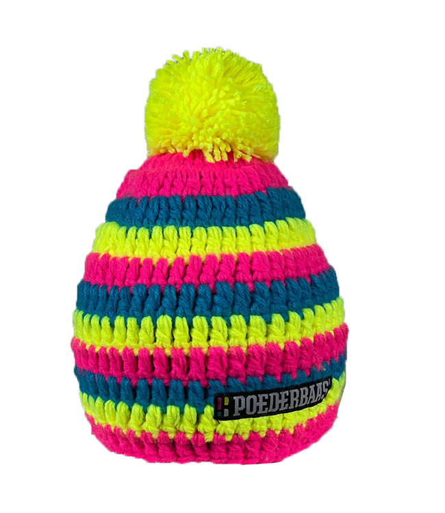 Kurzer Hut mit Pompon - gelb / blau / pink