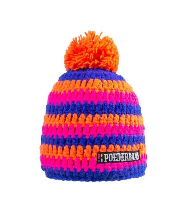 Bunter Hut mit Fleece - orange / pink / dunkelblau
