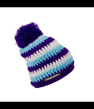 Babymuts gehaakt - blauw/wit/paars