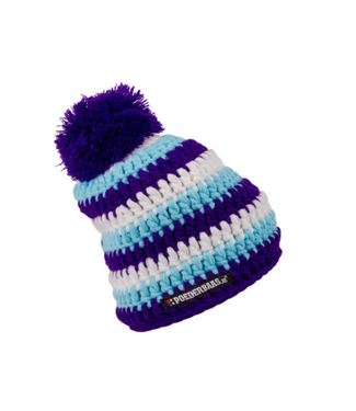 Crochet baby hat - blue / white / purple
