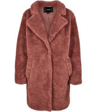 Oversized Sherpa Coat - Crimson Red