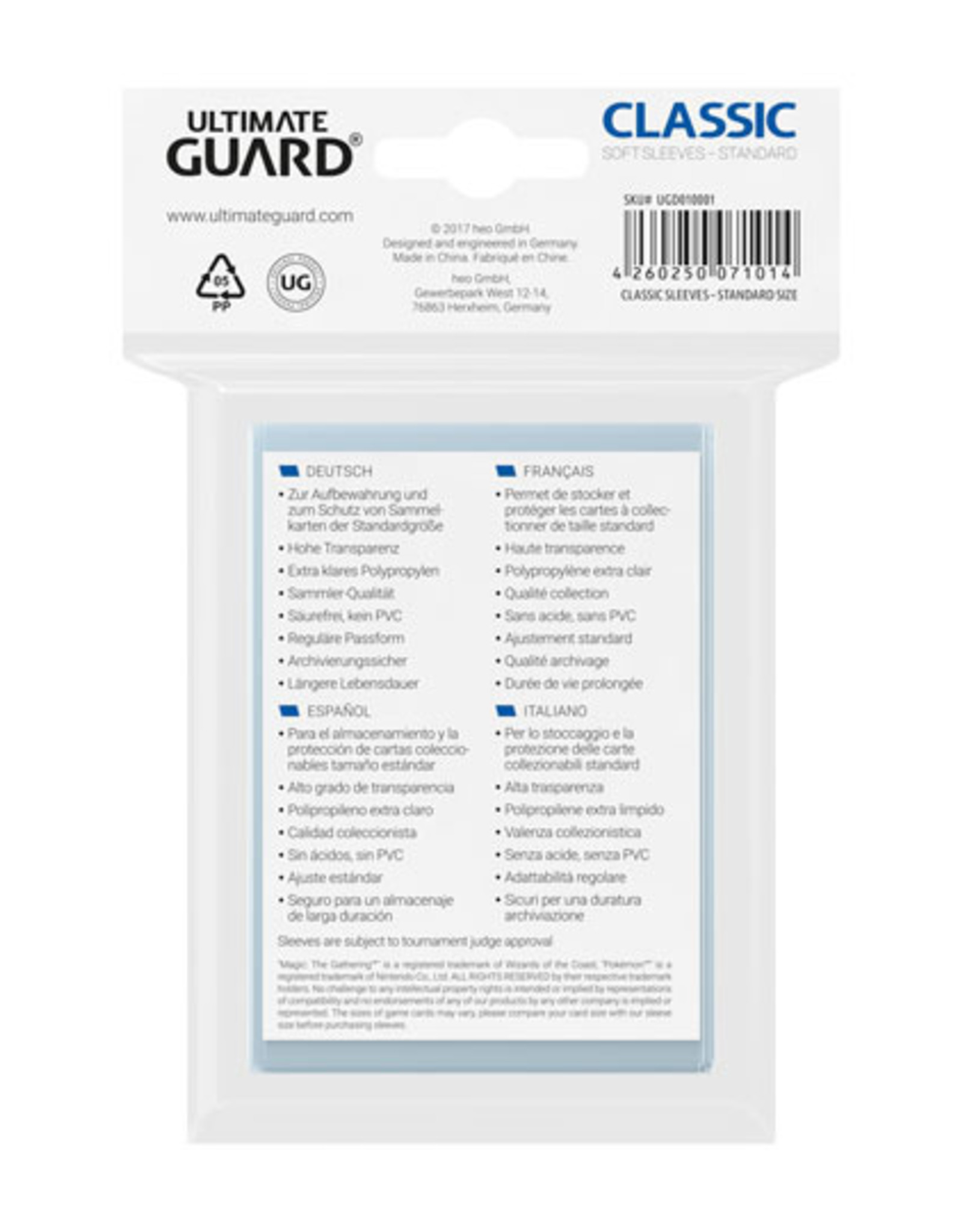 ULTIMATE GUARD Ultimate Guard Classic Soft Sleeves Standard Size Transparent (100)