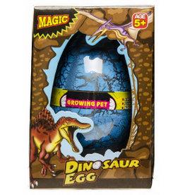 LG-IMPORTS Groei-ei dinosaurus 12 x 6,5 cm blauw