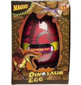 LG-IMPORTS Groei-ei dinosaurus 12 x 6,5 cm rood