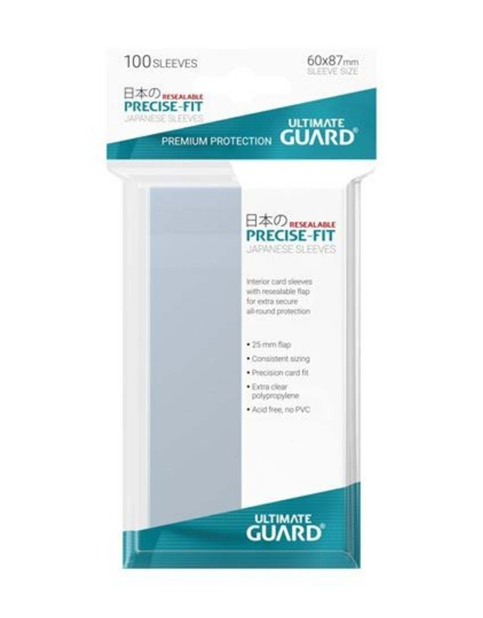 ULTIMATE GUARD Ultimate Guard Precise-Fit Sleeves Resealable Japanese Size Transparent (100)