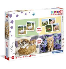 CLEMENTONI Animals superkit - 28 dominokaarten, 48 memokaarten & 2 puzzels 30st.