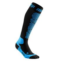 CEP Merino Skisokken met compressie - Zwart / Blauw