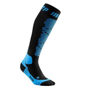 Ski Merino Compressiekousen - Zwart / Blauw