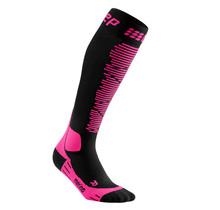 CEP Merino Skisokken met compressie - Zwart / Roze